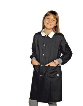 LARGE BLACK POLLICINO SCHOOL APRON WITH ELASTICS