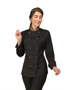 Chef jacket Lady BLACK BOHEME + LUREX GOLD - Isacco - DIVISE & DIVISE