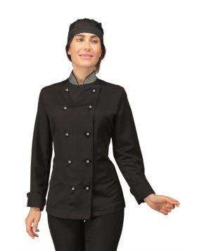Chef jacket Lady BLACK BOHEME + LUREX SILVER - Isacco - DIVISE & DIVISE
