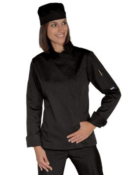 Chef jacket Lady SNAPS EXTRALIGHT super STRETCH BLACK