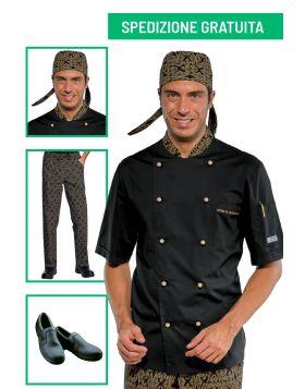Divise cuoco completa - Giacca manica corta e pantalone Maori 92