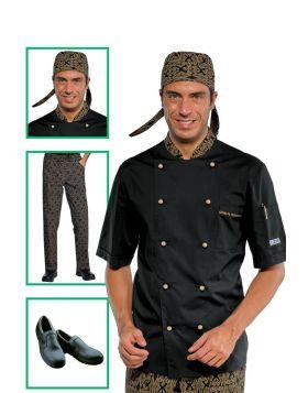 Chef uniform - Short Sleeve Jacket Maori Black and Green