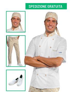 Divise cuoco completa - Giacca manica corta e pantalone Maori 95