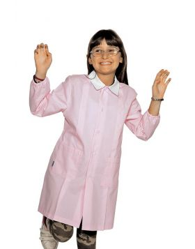 School apron pink mixed cotton