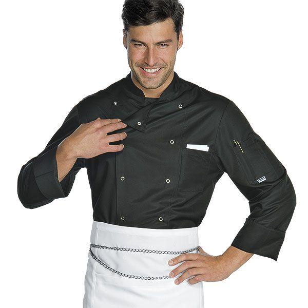 Giacca Cuoco Isacco Bottoni A Pressione Nera