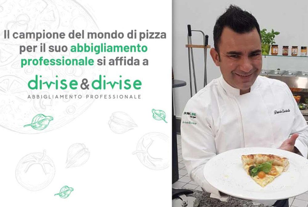 Campione del mondo di pizza Davide Civitiello Sceglie Divise & Divise per il suo abbigliamento da lavoro